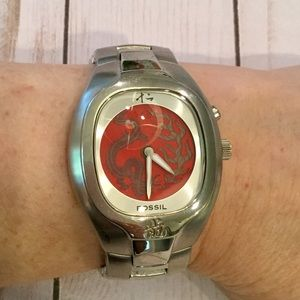 Fossil Big Tic Animated Dragon Face Watch, EUC