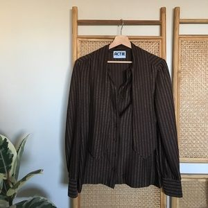 Tops - Vintage Brown and Gold Striped Disco Shirt