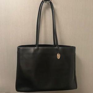 Furla Black Leather Medium Saffiano Tote Bag