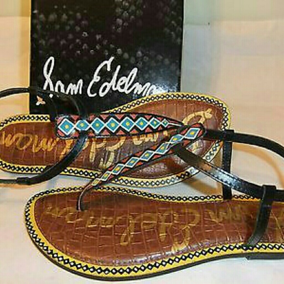 2d8b132cb358f9 SAM EDELMAN Gigi 6 Black Leather Thong T-Strap San