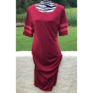 Lularoe Julia Dress Red with Pink Arm Stripes