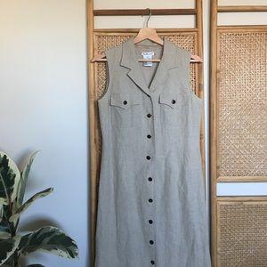 Vintage Linen Tan Button Down Maxi Dress