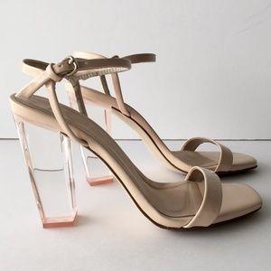 Zara Nude Acrylic Heel Sandal