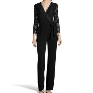 Black crepe/lace wrap jumpsuit