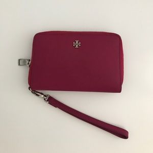 Tory Burch Pink Robinson Zip Continental Wallet