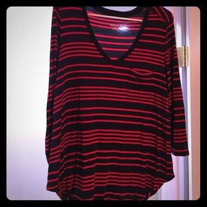 Blue and red fall loose top
