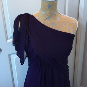 Adrianna Papell deep purple one shoulder gown!