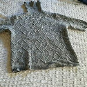 Limited gray embellished short sleeve sweater