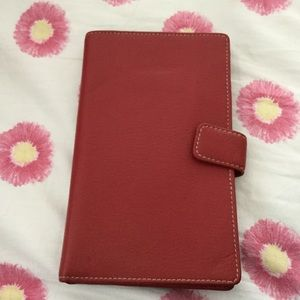 NWT red leather billfold