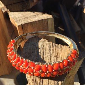 Orange & Gold stretchy bracelet