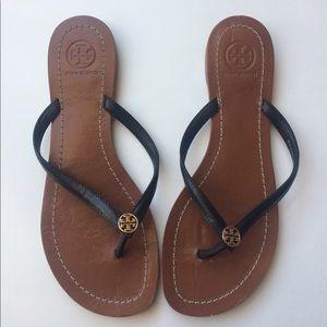 2a05c187af5e0 Tory Burch Shoes - Tory Burch Terra Black Leather Flip Flops 6.5