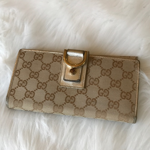 305c3ea3884a Gucci Handbags - GUCCI Canvas Leather D-Ring Gold Bi-Fold Wallet