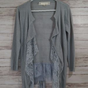 Anthropologie A'reve Gray Lace Open Knit Cardigan