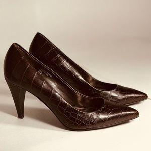 ALFANI Dark Brown Women Snakeskin Leather Pumps