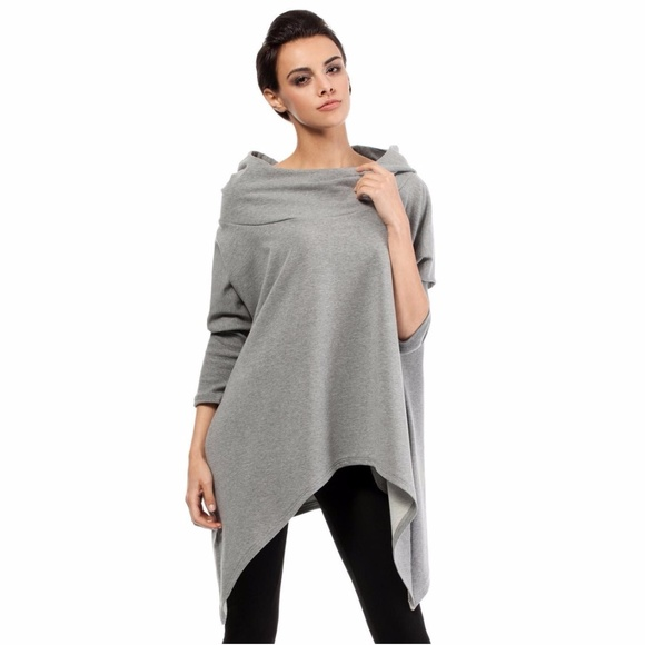 84% off MOE Sweaters - Moe Grey Comfy Cowl Neck Hooded Sweater ...