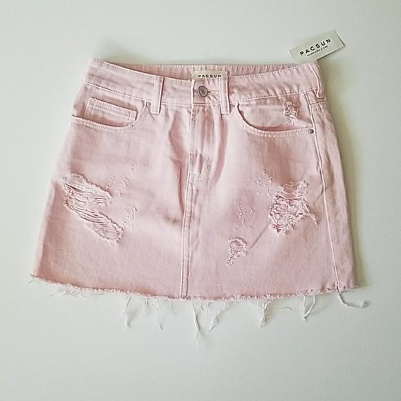 17e1ec1388a5 PacSun Skirts | Light Pink Denim Mini Skirt | Poshmark