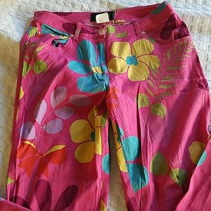 ABS pink floral pants in jeans style