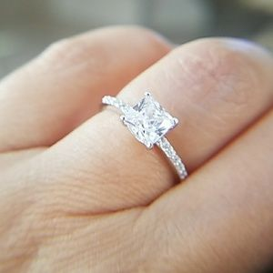 Jewelry - ON SALE 1ct Princess cut Solitaire Engagement Ring