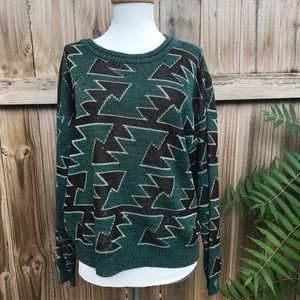 Vintage Green/ Black Aztec Print Grandpa Sweater-M