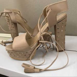 LF Nude Studded Lace Up Platform Heel