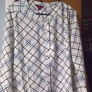 212 White Blouse with Blue and Black Strips