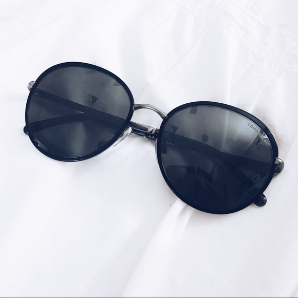 97dedf47cd7d CHANEL Accessories - CHANEL round spring black sunglasses