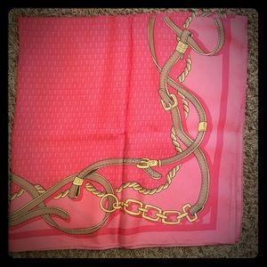 New Vineyard Vines pink silk scarf w/ horse reins