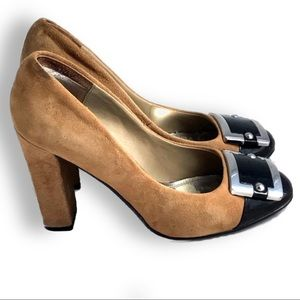 White House Black Market Theo Camel Suede Pumps