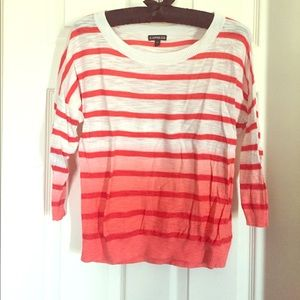 Coral ombre striped three-quarter length sweater
