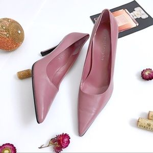 Apostrophe blush pointed toe faux leather pumps
