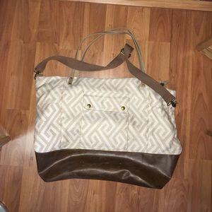 Tan Printed Weekender Bag