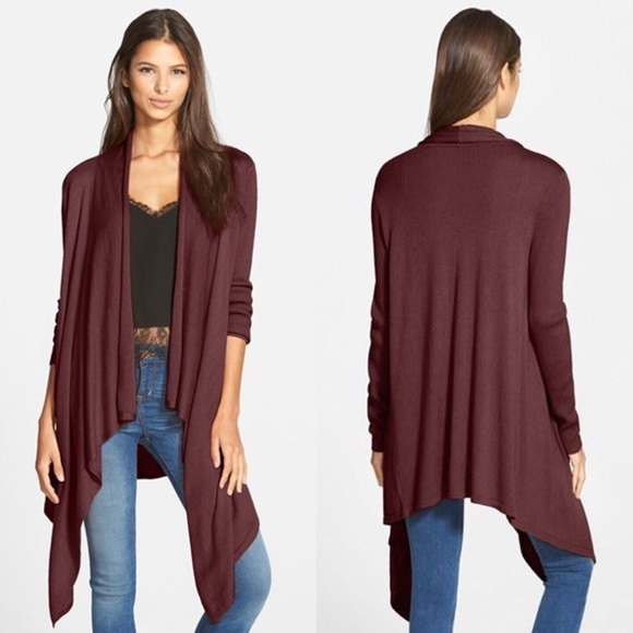 74% off Leith Sweaters - Leith waterfall burgundy cardigan from ...