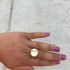 Large costume yellow diamond ring