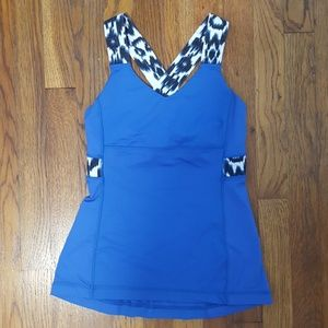 Lululemon athletica blue and white cross back tank