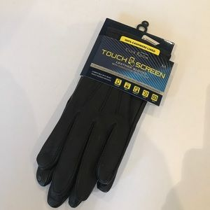 NWT$95CASHMERE LINED TOUCH SCREEN LEATHER GLOVES M