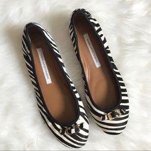 Diane Von Furstenberg Bion Zebra Calf Hair Flats