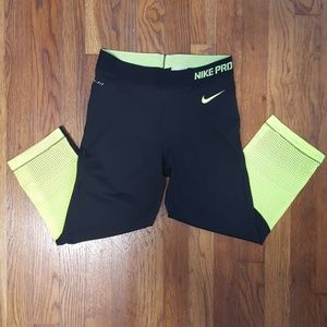 Nike Pro Black and Neon Capris