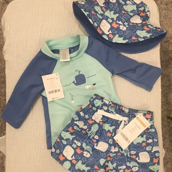 7eac54954 NWT - Baby boy swim trunk set swimsuit and sun hat NWT