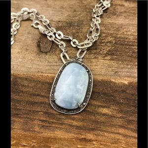 Peruvian opal with diamonds on silver necklace