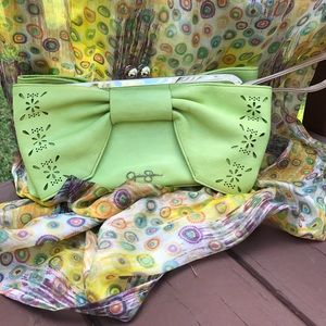 Jessica Simpson lime green clutch