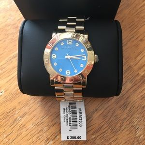 NWT Marc By Marc Jacobs Gold Watch with blue face