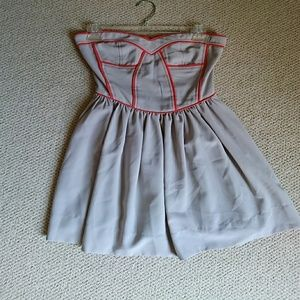Sugarlips Grey and orange piped strapless dress