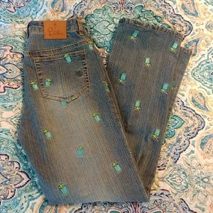 Lilly Pulitzer Jeans Embroidered with Drink Glass