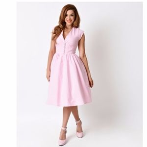 NEW Bettie Page Pink Gingham Rockabilly Dress