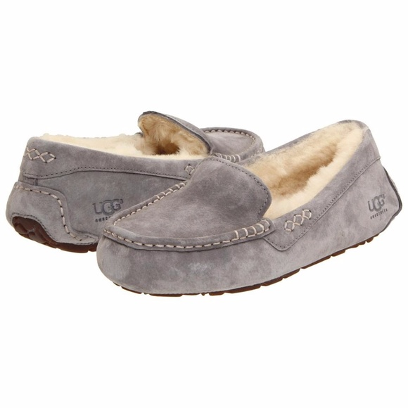 f8aea414447 UGG Ansley Light Grey Suede Moccasin Slippers 7