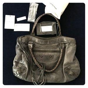 💯 balenciaga grey purse authentic