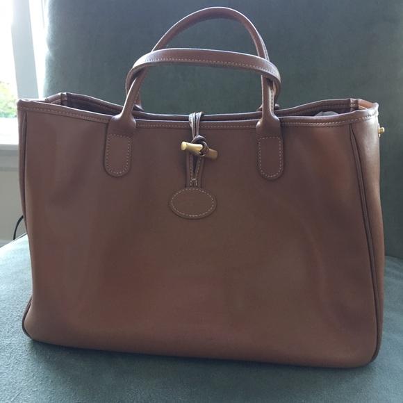 89b3bc61dcb Longchamp Handbags - Vintage Longchamp Roseau heritage tan leather bag.