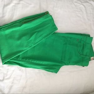 Denim - Green cropped jeans with zipper detail