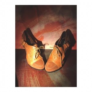 Elizabeth and James Tan bootie heels