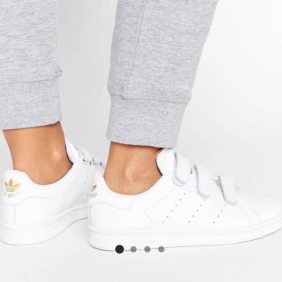 adidas Shoes - Adidas Stan Smith Velcro w gold 6.5 women 8 ccde29705